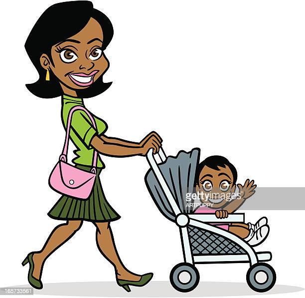 ilustraciones, imágenes clip art, dibujos animados e iconos de stock de afroamericana madre con bebé - madre trabajadora
