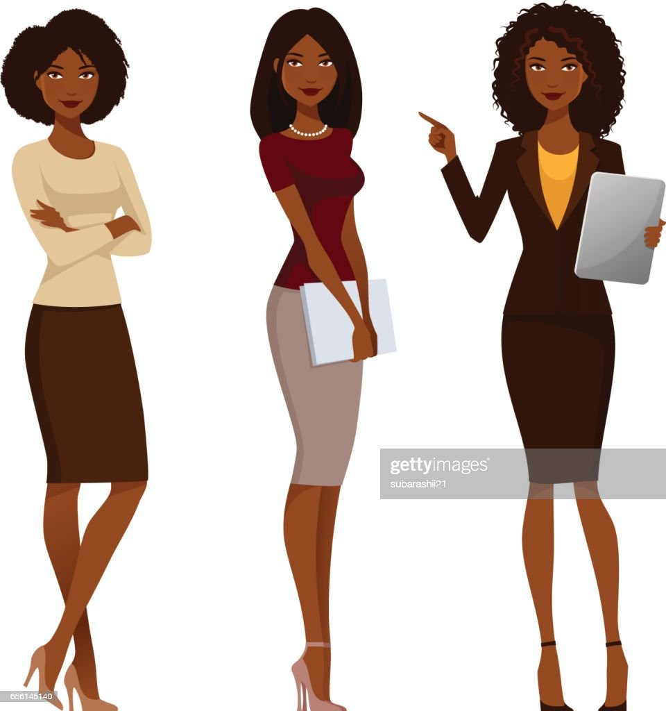 African American office girls in smart casual fashion