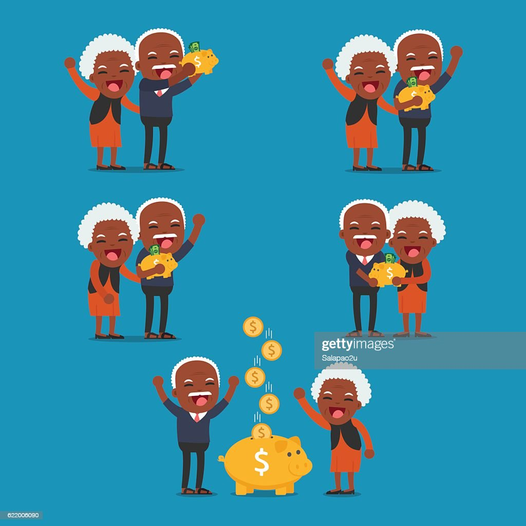 African american people - Senior people with golden piggy bank,