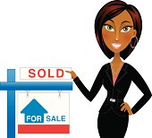African american real estate agent with sold sign