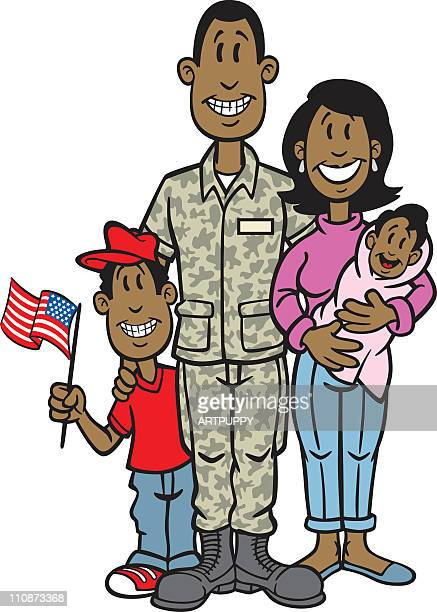 African American Soldier With Family