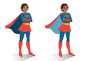 African American superhero woman in  costume and mask standing with crossed arms. Vector cartoon character illustration in flat contemporary style isolated on white background. Women activism concept