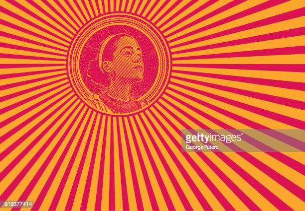 african american woman and psychedelic pattern - lutin stock illustrations