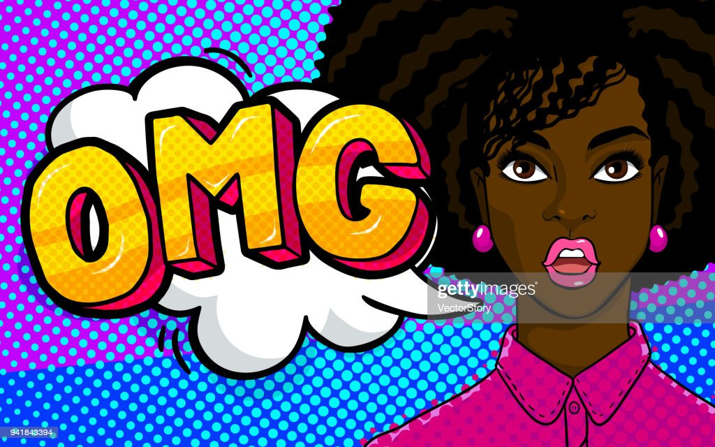 African american woman face in pop art style. : stock illustration