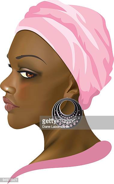 stockillustraties, clipart, cartoons en iconen met african american woman illustration - bruine ogen