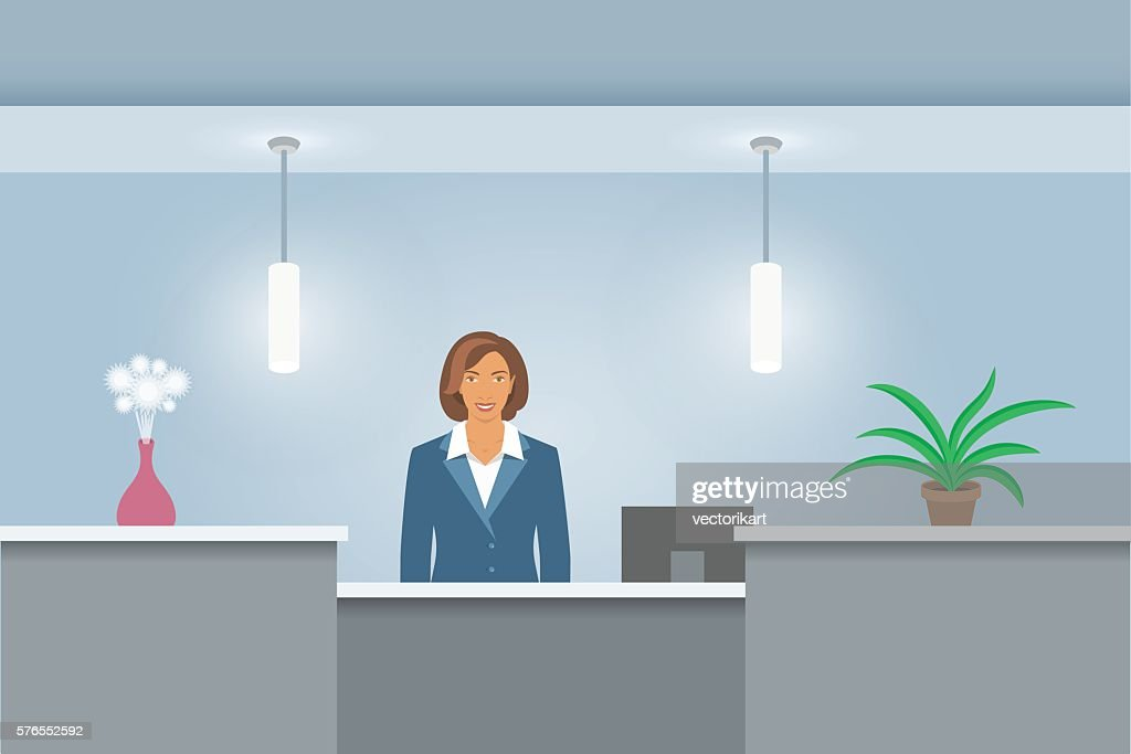 African American Woman receptionist at reception desk front view