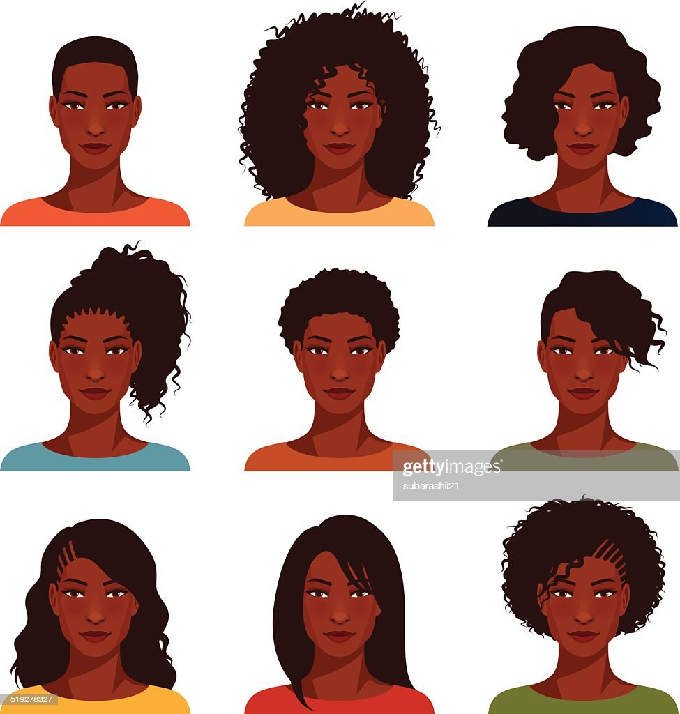 African American women with various hairstyle