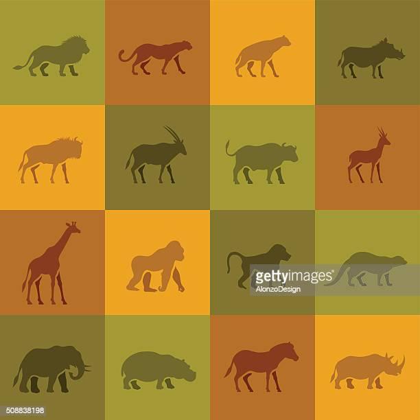 african animal icons - safari animals stock illustrations