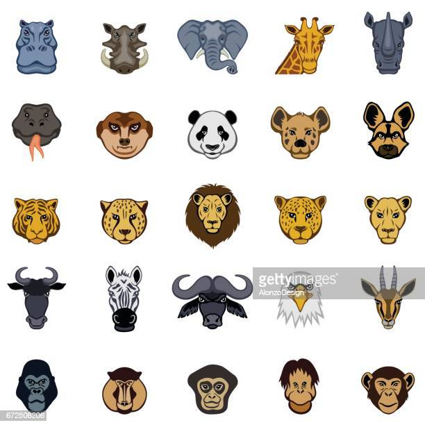 african animal icons - baboon stock illustrations