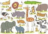 African animal kids drawing