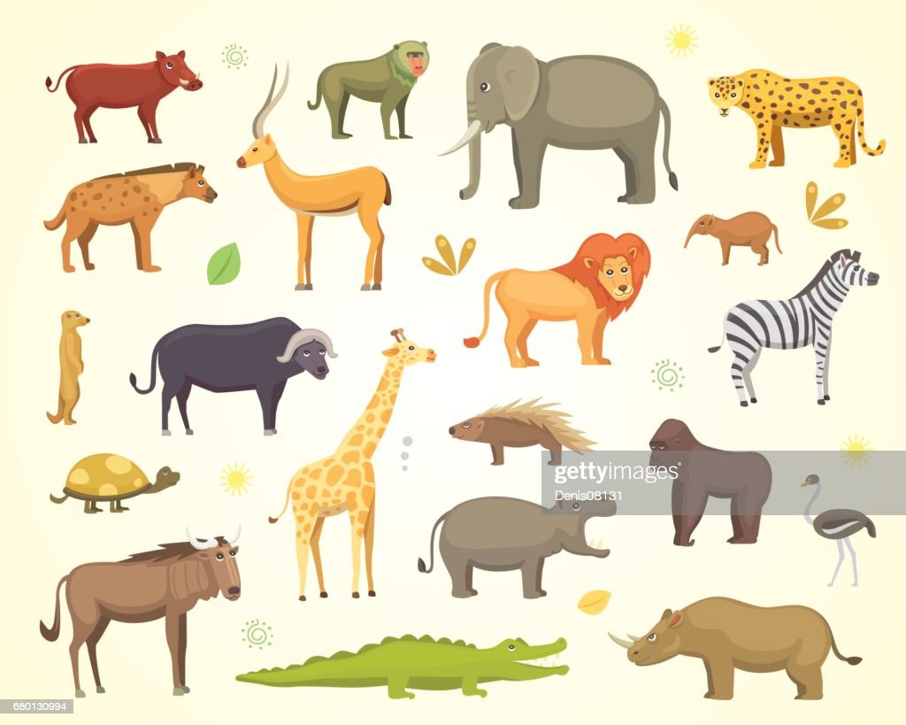 African animals cartoon vector set. elephant, rhino, giraffe, cheetah, zebra, hyena, lion, hippo, crocodile, gorila and outhers. safari isolated illustration.