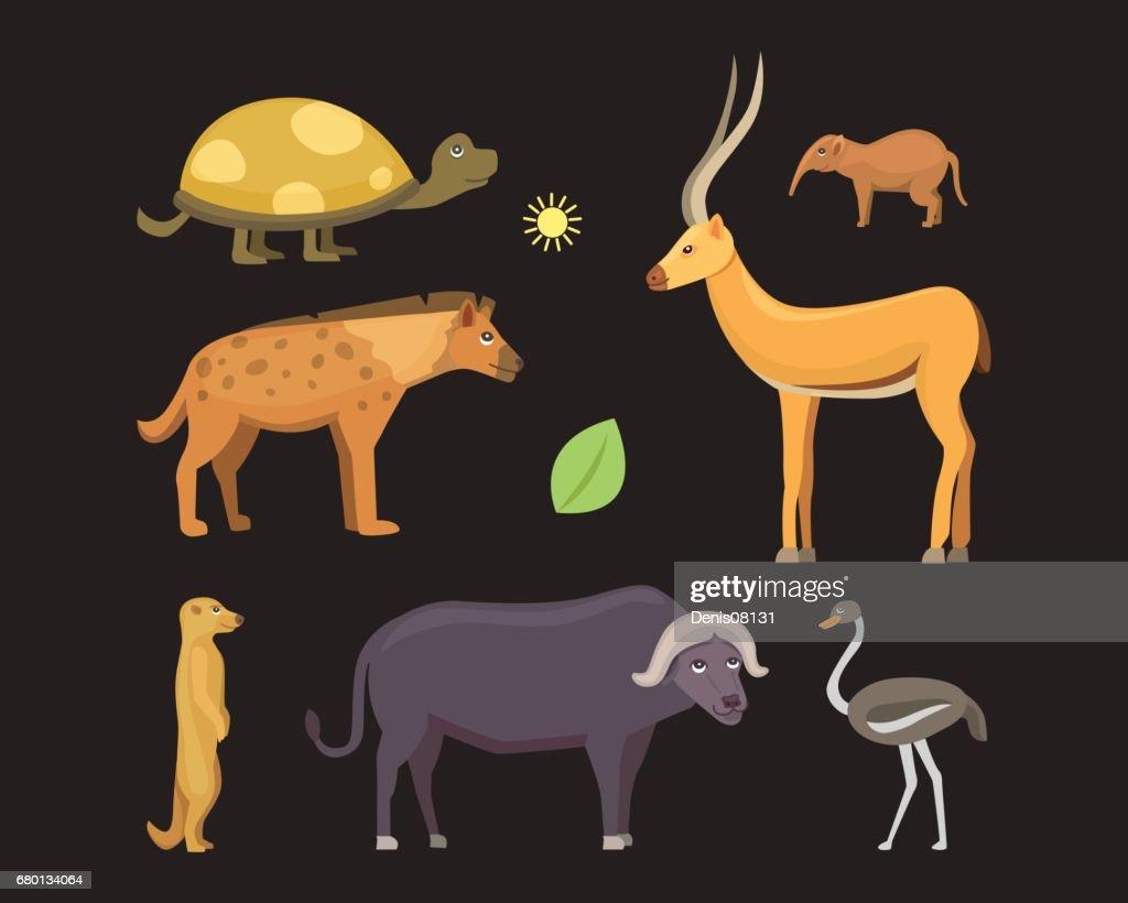 African animals cartoon vector set.  safari isolated illustration.