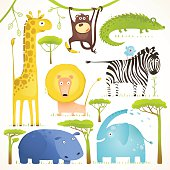 African Animals Fun Cartoon Clip Art Collection