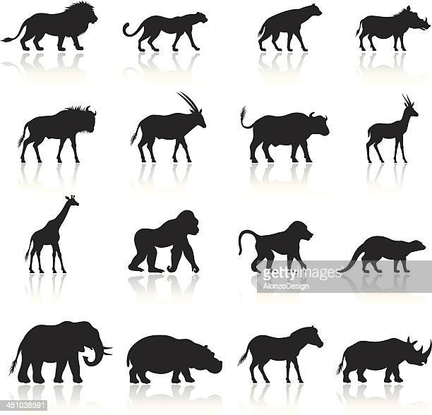 african animals icon set - african buffalo stock illustrations, clip art, cartoons, & icons