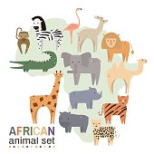 African animals in geometric flat style.