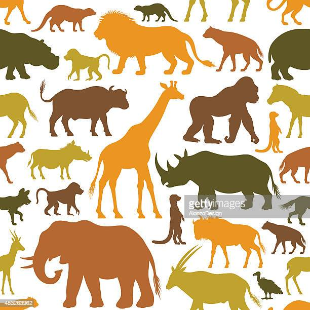 african animals pattern - african buffalo stock illustrations, clip art, cartoons, & icons