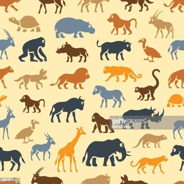 afrikanische tiere muster - chimpanzee stock-grafiken, -clipart, -cartoons und -symbole