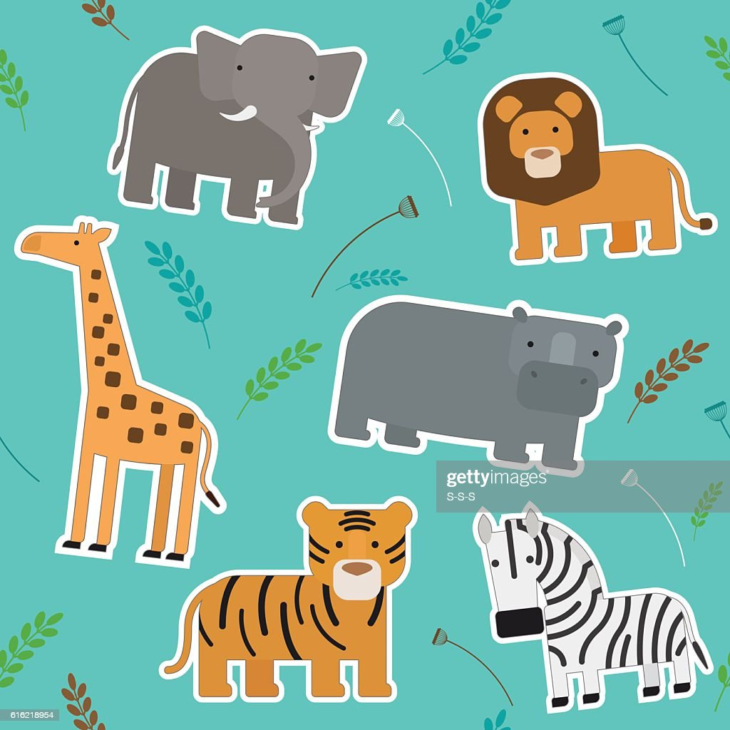 African Animals Seamless Pattern : Vektorgrafik