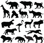 African animals silhouette profiles