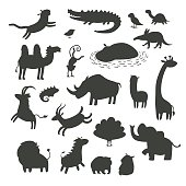 African animals silhouettes, isolated on white background