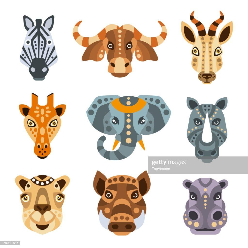African Animals Stylized Geometric Portrait Set