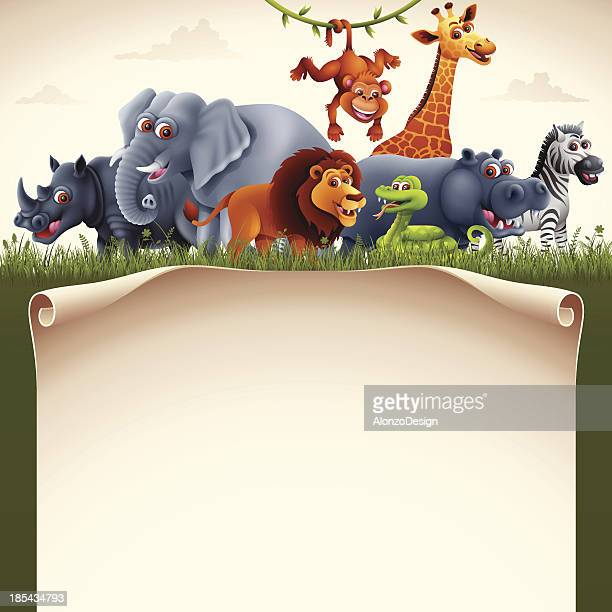 african animals with scroll - savannah stock illustrations, clip art, cartoons, & icons