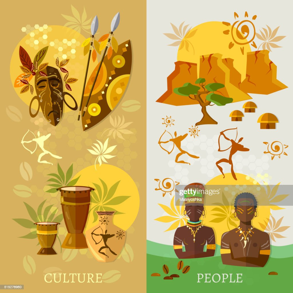 African banner Africa culture and traditions ancient tribes