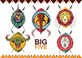 African big five. Rhino, buffalo, elephant, leopard and lion.