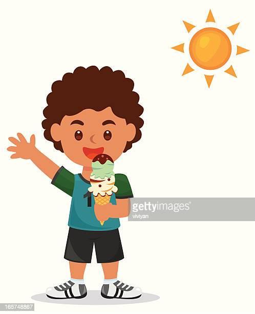 african boy love ice cream - eating ice cream stock illustrations, clip art, cartoons, & icons