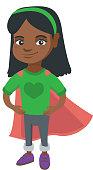 African brave girl wearing superhero costume