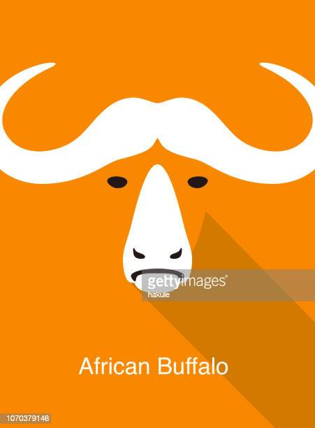 african buffalo face flat icon design, vector illustration - african buffalo stock illustrations, clip art, cartoons, & icons