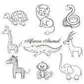 African cartoon animal turtle, giraffe, lion, zebra, crocodile, gazelle, snake, zebra, monkey, elephant isolated on white, Vector doodle illustration, line art, Character design for greeting card