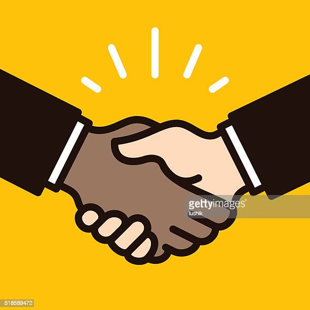 african & caucasian handshake filled outline style - shaking stock illustrations