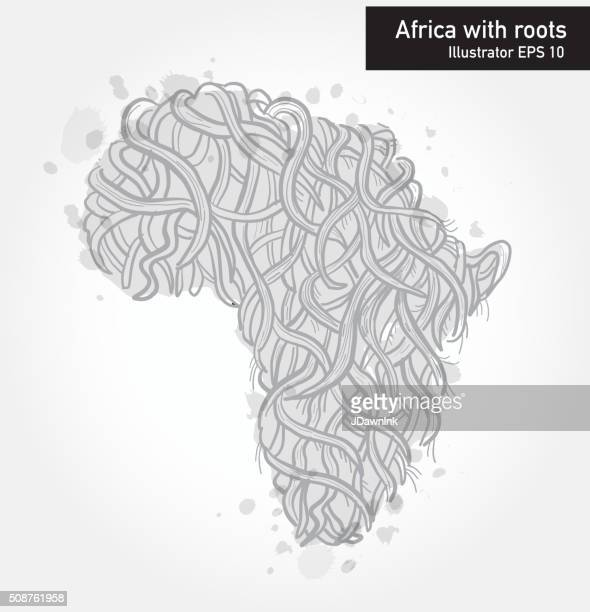 African continent with intricate roots design