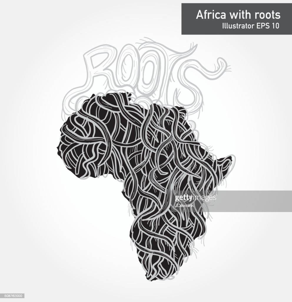 African Continent With Intricate Roots Design Vector Art