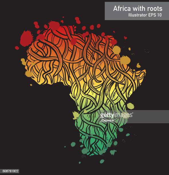 African contintent with intricate roots design