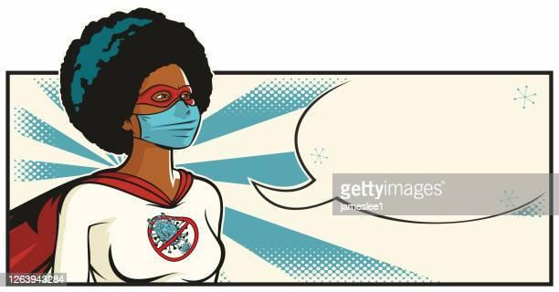 african coronavirus superhero - woman wearing protective face mask stock illustrations
