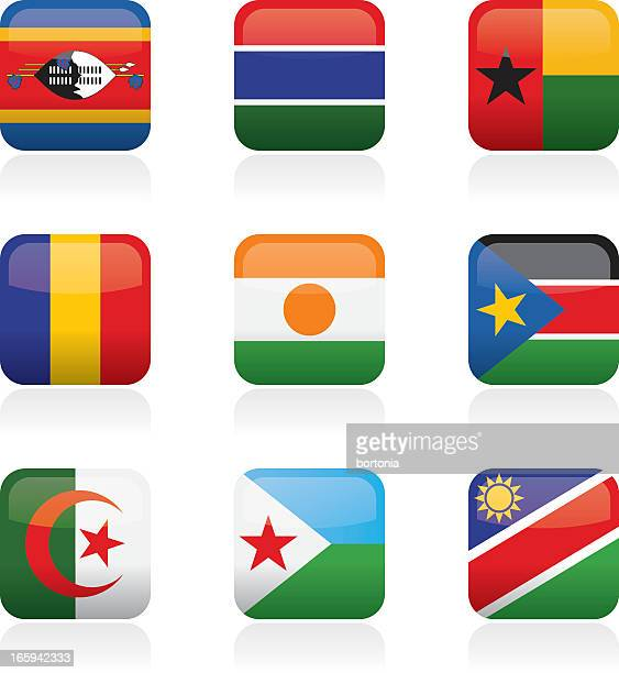 African Country Buttons