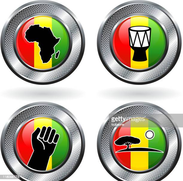 african culture and safari royalty free vector icon set - black power stock illustrations