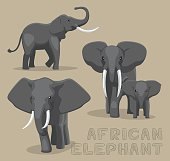 African Elephant Cartoon Vector Illustration
