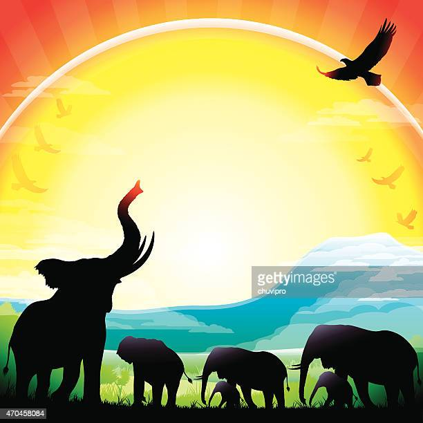 african elephants silhouettes safari against mt kilimanjaro - mt kilimanjaro stock illustrations, clip art, cartoons, & icons