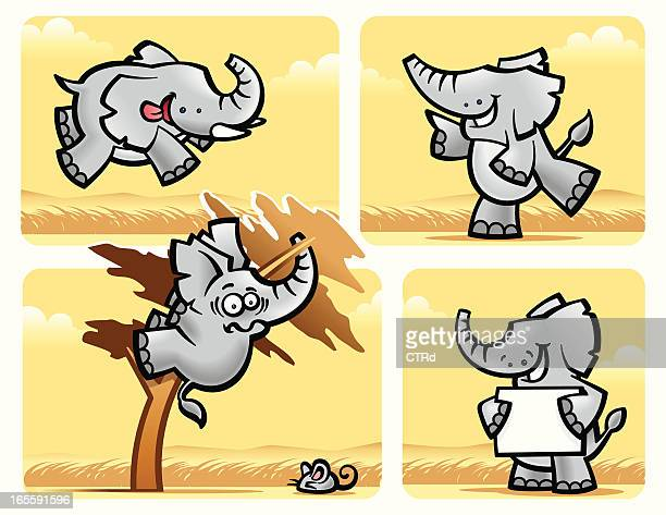 african elephants - cartoon characters with big teeth stock illustrations