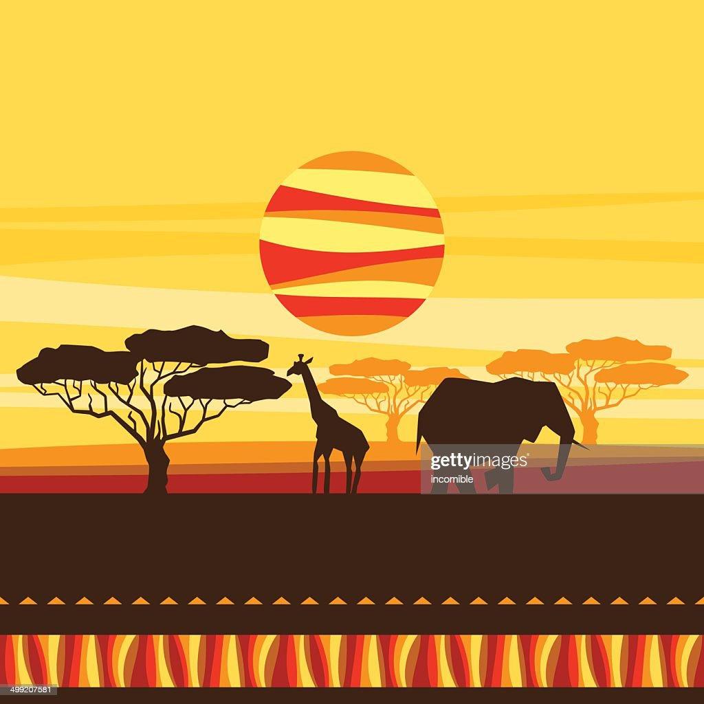 African ethnic background with illustration of savanna.