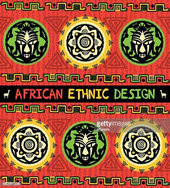 illustrations, cliparts, dessins animés et icônes de africain motif ethnique avec un masque et un ornement abstrait géométrique - masque africain