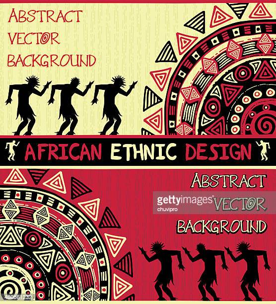 african ethnic  design with abstract geometric ornament and dancing people - uganda stock illustrations, clip art, cartoons, & icons