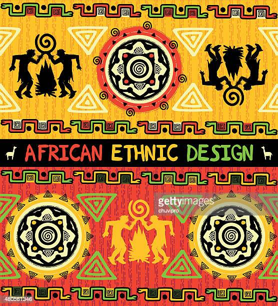 African ethnic  design with abstract geometric ornament and dancing people