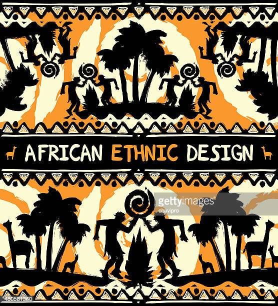 African ethnic  design with dancing people and palm trees