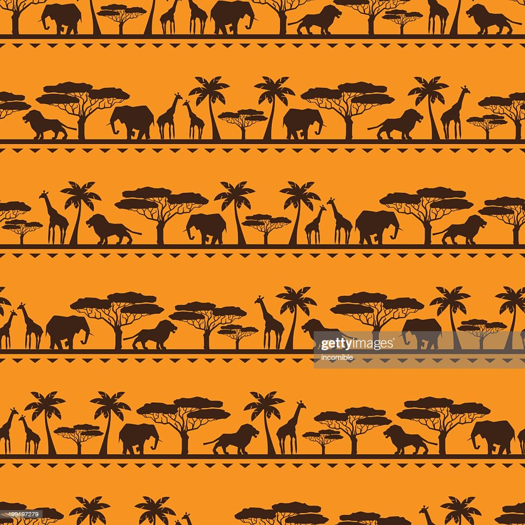 African ethnic seamless pattern in flat style.