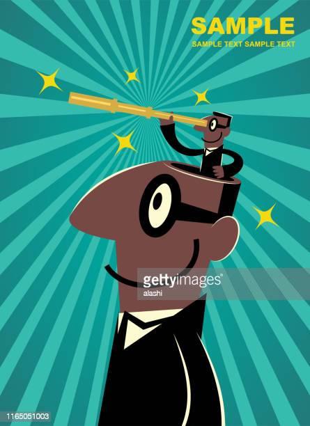 ilustraciones, imágenes clip art, dibujos animados e iconos de stock de hombre de negocios de etnia africana de la cabeza abierta del hombre gigante mirando a través de un telescopio de mano (ver la imagen más grande de lo que usted mira) - personas cabeza grande