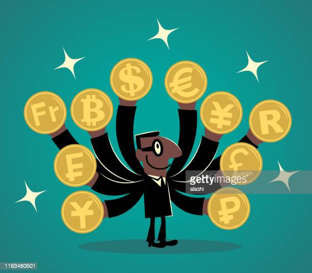 african ethnicity businessman with lots of hands and various currency coins - currency exchange stock illustrations
